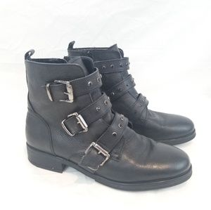 Womens Biker Boots Tripple Buckle Jewled size 10.5